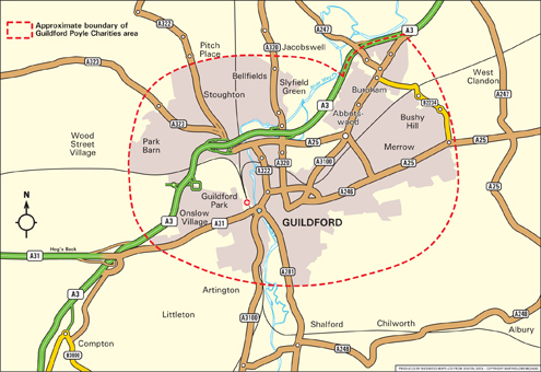 Map of Guildford Poyle Charities catchment area